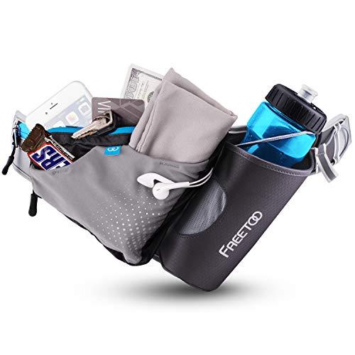FREETOO Running Belt, Water Bottle Waist Pack for Running, Men Women Water Bottle Belt with Breathable Material, Lightweight Hydration Belt for Hiking Fanny Pack with Water Bottle Holder for Jogging