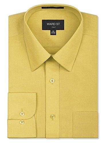 Ward St Men's Regular Fit Dress Shirts, 5XL, 21-21.5N 36/37S, Lemon