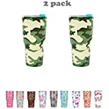 2PCS 30OZ Camouflage Double-Layer Stainless Steel Vacuum Insulation Tumbler Cup Travel Mug(30OZ, Camouflage Green)