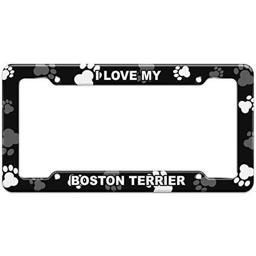 Terrier License Plate Frame (Paw Prints License Plate Frame I Love My A-B - Boston Terrier)