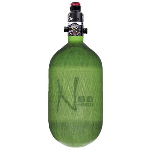 Ninja Carbon Fiber HPA Tank - PRO V2 SHP REG - 68/4500 - Translucent Lime by Ninja Paintball
