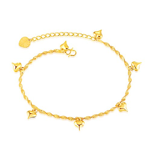 b7c3355a3a1af8 Fate Love Heart Shape Pendant Twisted Rope Chain Anklet 18k Gold Plated  Foot Chain, 8