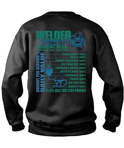 Papaya Tee Welder Nutrition Facts Serving Size Sweatshirts, Servings Per Container T Shirt-Sweatshirt (M, Black) ()