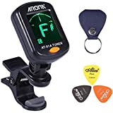 AROMA Clip On Tuner Rotatable with Free PU Pick Holder and 3 Pcs Alice Guitar Picks for All Instruments with Guitar, Bass, Violin, Ukulele & Chromatic Tuning Modes Large LCD Display for Guitar Tuner