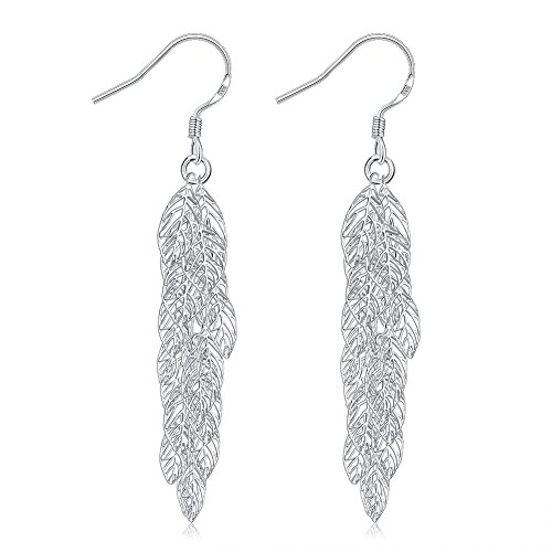 Large Leaf Earrings - Sterling Silver Plated Leaf Earrings Large Fashion Dangling Filigree Earrings for Women or Girls (Hollowed-out)