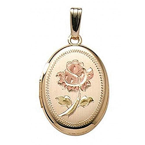 PicturesOnGold.com 14K Gold Filled Rose Oval Locket 3/4 Inch X 1 Inch (Locket + Photo) ()