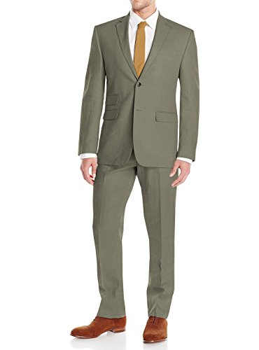 Gino Valentino Men's Modern Fit Two Button Two Piece Linen Suit (44 Regular US / 54R EU / W 38