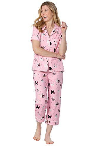 PajamaGram Cat Pajamas for Women - Short Sleeve PJs for Women, Pink, L, 14-16 ()
