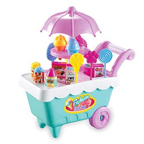 Moroly 19Pcs Kids Rotating Ice Cream Candy Pretend Play Food Supermarket Trolley Toys