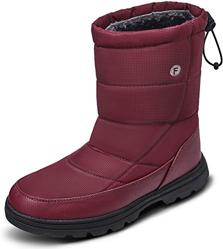 soouops Women's Outdoor Ankle Winter Snow Boots Slip on Shoes Wine Red Women 12 M US, Men 10 M US