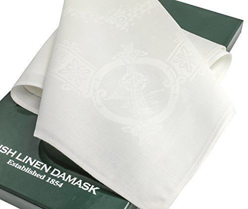 Thomas Ferguson Celtic White Linen Damask Napkins (Set of 6) 22'' Sq by Thomas Ferguson Irish Linen