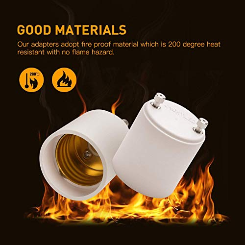 JACKYLED GU24 to E26 Adapter 2-pack Heat Resistant Up to 200℃ Fire Resistant Converts GU24 Pin Base Fixture to E26 E27 Standard Screw-in Socket