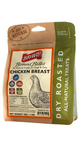 Bravo Bonus Bites Dry Roasted Chicken Strips, 4-Ounce, My Pet Supplies