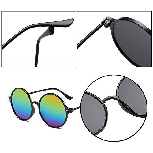style steampunk réfléchissantes Mesdames Noir rondes de rétro Dintang Cadre et soleil soleil femmes lunettes cadre de Lentille lunettes Lunettes Multicolor Onq7Zw
