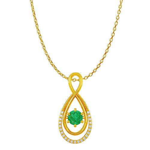 - CZ Emerald Infinity Double Loop Pendant 18K Vermeil