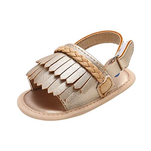 Shusuen Infant Baby Girls Moccasins Tassels Premium Soft Rubber Sole Anti-Slip Summer Toddler Sandals with Bowknot