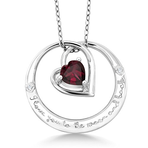 (Gem Stone King 925 Silver inchesI love you to the moon and backinches Garnet Diamond Heart)