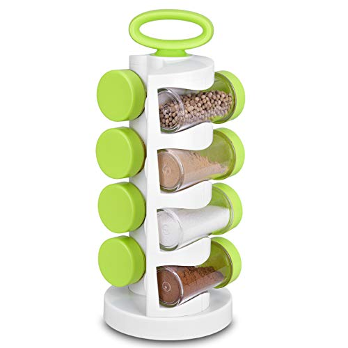 (Portable Spice Rack, Smile Mom Revolving Spice Rack with 8 Plastic Jar Bottles, Safe Plastic, Completely BPA-free, Dishwasher Safe, Perfect for Storing Spice, Herbs and Powders)