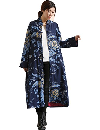 Floral Fabric Button (IDEALSANXUN Women's Cotton Linen Vintage Floral Print Lightweight Trench Coat Long Button Down Jacket Robe (Small, 1 Blue))