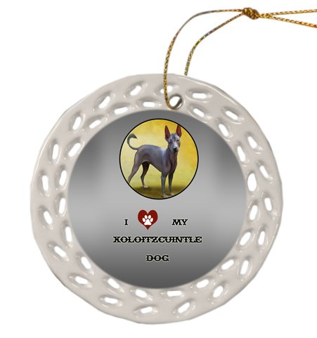 Xoloitzcuintli Mexican Hairless Dog Christmas Doily Ceramic Ornament by Doggie of the Day