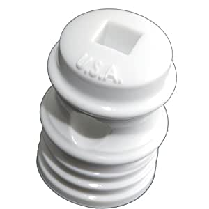 Zareba IWSD-Z Wood-Post Self-Drilling Porcelain-Look Insulator, White