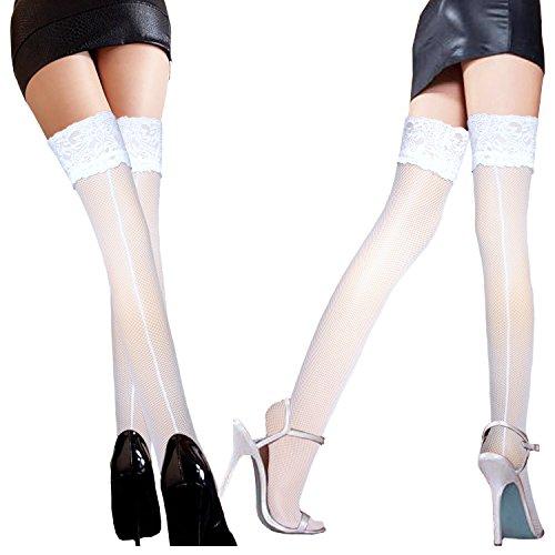 damas antideslizantes medias de red con ancho de encaje costura trasera encima de la rodilla medias de liga con rayas de silicona antideslizante 2 pares / Blanco Rosa caliente
