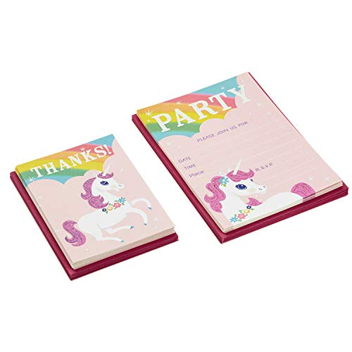 Hallmark Rainbow Unicorn Invitations and Thank You Cards Set (Pack Includes 10 Invites and 10 Thank You Notes) - 5STZ5064
