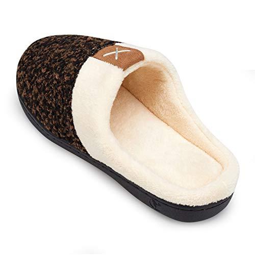 Plush Sole Cotton Cozy Slippers Men's Memory House welltree Knit Slip Comfort Foam Anti Shoes Indoor Brown 7q6S5qw