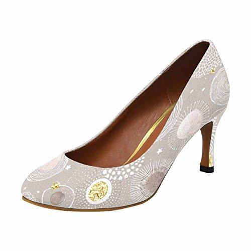 Chaussures De Pompe À Talon Haut De Fashionprint Womens Fashion Classique De Chaussures Fond De Noël Avec Des Cercles De Doodle