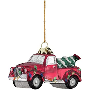 Kurt Adler 4-Inch Noble Gems Glass Truck with Christmas Tree Ornament