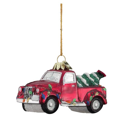 Noble Gems Kurt Adler 4-Inch Glass Truck with Christmas Tree Ornament