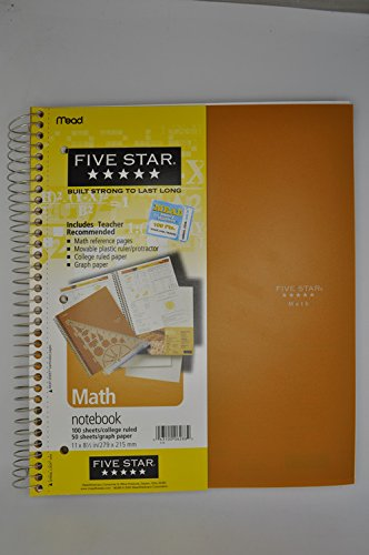 mead five star math notebook 100 college sheets50 sheetsgraph paper
