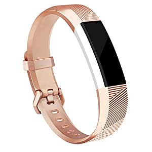 for Fitbit Alta HR and Alta Bands, Vancle Classic Accessory Band Replacement Wristband for Fitbit Alta HR 2017/Fitbit Alta 2016 (Rose Gold, Small)
