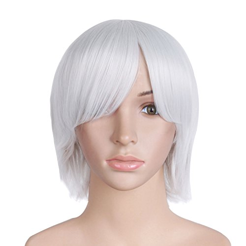 MapofBeauty Silver White Short Cosplay Party Wig