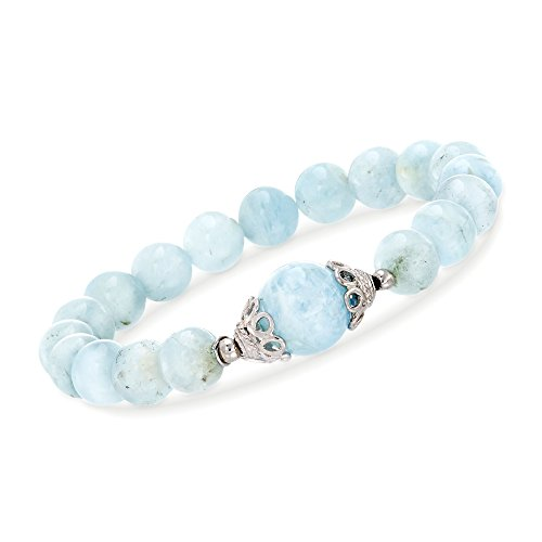 Ross-Simons 90.00 ct. t.w. Milky Aquamarine Beaded Stretch Bracelet With Sterling Silver