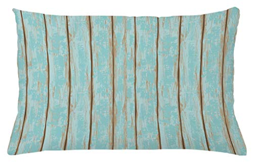 Lunarable Wood Print Throw Pillow Cushion Cover, Old Fashioned Weathered Rustic Planks Summer Cottage Beach Coastal Theme, Decorative Square Accent Pillow Case, 26 X 16 Inches, Pale Blue Tan