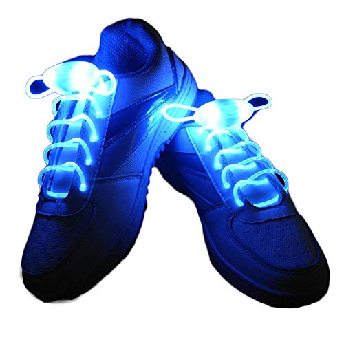 2 Pair Luminous Shoelaces, Switchable LED Light Up Shoestring Glowing Shoe Laces, Novelty Party Dress -