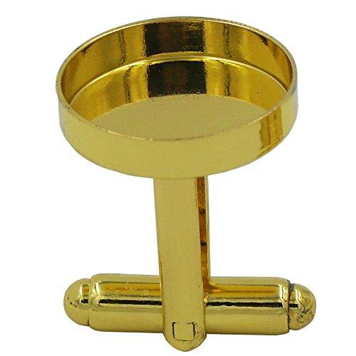 Bluemoona 10 Pcs (5 Paris) - Cufflinks Brass Blank Cuff links Findings 16mm Mens Shirt Wedding Business (Gold)