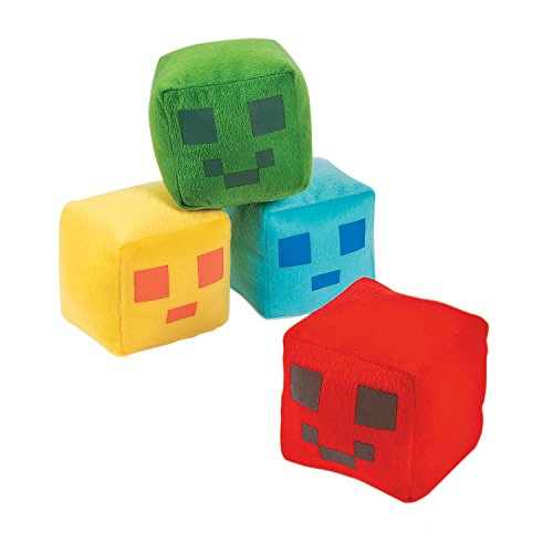 Large Plush Pixel Pals Stuffed Square Balls (12 Pack) Yellow, Blue, Green, Red 4