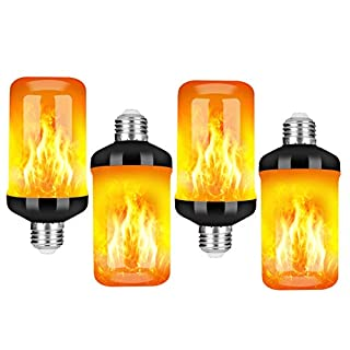 LED Flame Effect Fire Light Bulb - Upgraded 4 Modes Flickering Fire Halloween Lights Decorations - E26 Base Flame Bulb with Upside Down Effect (Black 4 Pack)