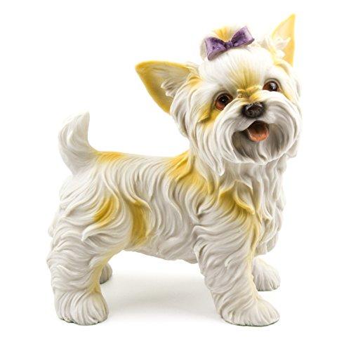 (Hago Yorkshire Terrier Dog Statue Standing Garden Decor Hand Painted Dog Yard Art Sculpture)