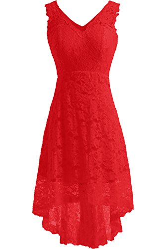 DressyMe Women's Cheap Lace Wedding Reception Dress Prom Party Gown High Low-26W-Red ()