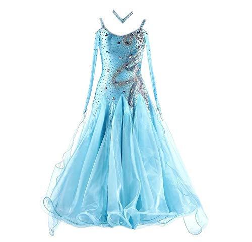 garuda★サイズメイド セミオーダー高級ドレス レディース社交ダンス衣装競技ワンピース 石付き 水色 B07S18C6NP 水色 セミオーダー