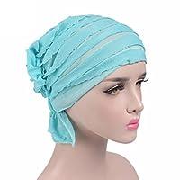 Womail Women Turban Head Cover Wrap Crochet Beanie Warm Bathing Chiffon Hat (Light Blue)