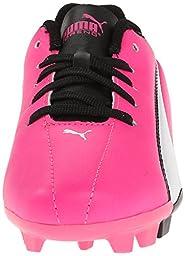 PUMA Adreno Firm Ground JR Soccer Shoe (Little Kid/Big Kid) , Knock Out Pink/White/Black, 3 M US Little Kid