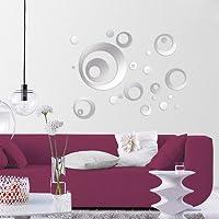 24pcs Circulares Espejos Adhesivos de Pared Pegatinas Adornadas de Pared