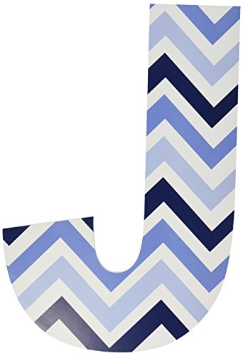 Stupell Home Décor Tri-Blue Chevron 18 Inch Hanging Wooden J Initial, 12 x 0.5 x 18, Proudly Made in USA (Blue Hanging Wooden Letter)