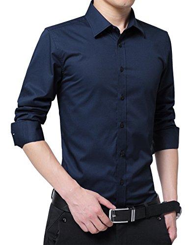 XTAPAN Men's Long Sleeve Casual Slim Fit Cotton Button Down Dress Shirt Asian 3XL Dark Blue-5618