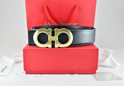 Ferragamo Belt Reversible Big Gold Buckle Black Leather Belt