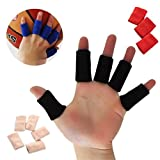 10 Pcs Elastic Finger Sleeves Protector Support Arthritis Guard Basketball Black